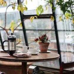 French Press Kaffee auf einem Tisch vor großem Fenster