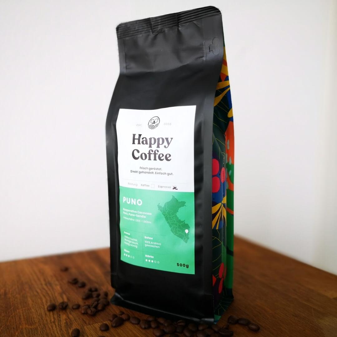 Kaffeepackung Happy Coffee Puno